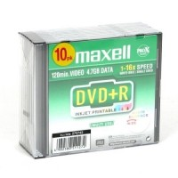 DVD+R 4.7GB 16x PRINTABLE WHITE SLIM*10