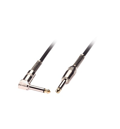 """10m Guitar Lead - 1/4"""" Straight Jack to 1/4"""" Right Angled Jack, Black"""