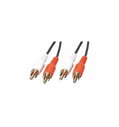 Audio kabelis, 2 x Phono Male / 2 x Phono Male, 20m, melns, apzeltīti savienotāji
