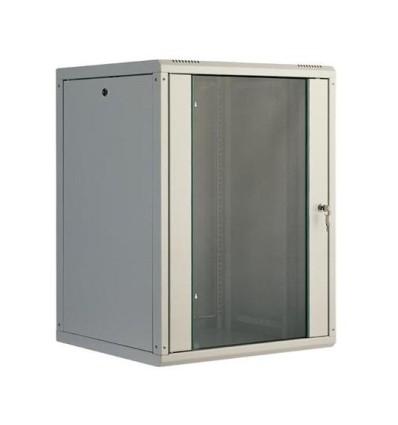 """19"""" sienas skapis 15U-600x450 ar stikla durvīm, pelēks"""