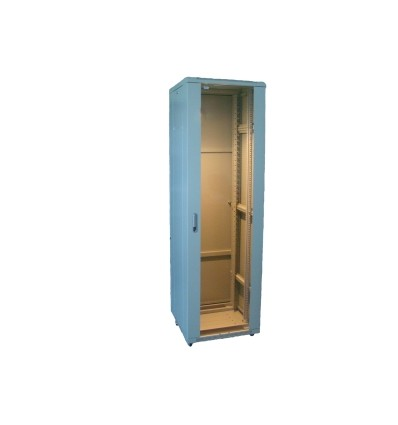 """19"""" grīdas skapis 32U-600x600 ar stikla durvīm, pelēks"""