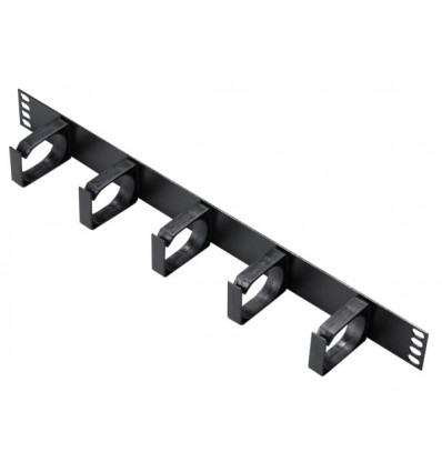Cable Management Bar 1U Black 5 x Plastic Rings
