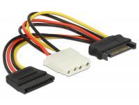 Delock Cable Power SATA 15 pin male Molex 4 pin female + SATA 15 pin female