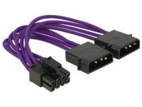 Delock Power Cable 8 pin EPS 2 x 4 pin textile shielding purple