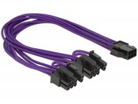 Delock Power Cable PCI Express 6 pin female 2 x 8 pin male textile shielding purple