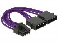 Delock Power Cable PCI Express 8 pin male 2 x 4 pin male textile shielding purple