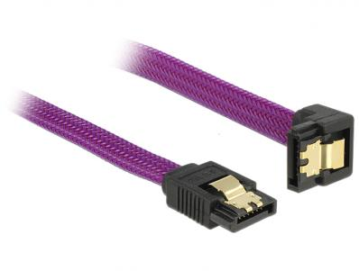 Delock SATA cable 6 Gbs 100 cm down straight metal purple Premium