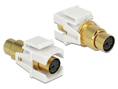 Keystone module Mini-DIN 6 pin female female gold plated