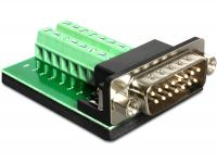 Delock Adapter Sub-D 15 pin Gameport male Terminal block 16 pin