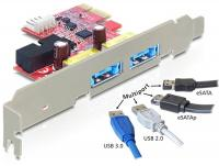 Delock PCI Express Card 2 x Multiport USB 3.0 + eSATAp