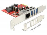 Delock PCI Express Card 3 x external USB 3.0 + 1 x external Gigabit LAN – Low Profile Form Factor