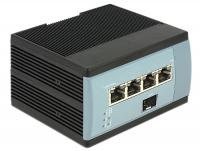 Delock Gigabit Ethernet Switch 4 Port PoE + 1 SFP DIN-rail mounting