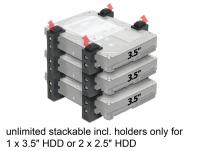 Delock Holder for 2.5 or 3.5 HDDs stackable
