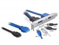 Delock Slot bracket USB 3.0 pin header 19 pin + SATA 7 pin internal 1 x USB 3.0-A + 1 x Multiport external
