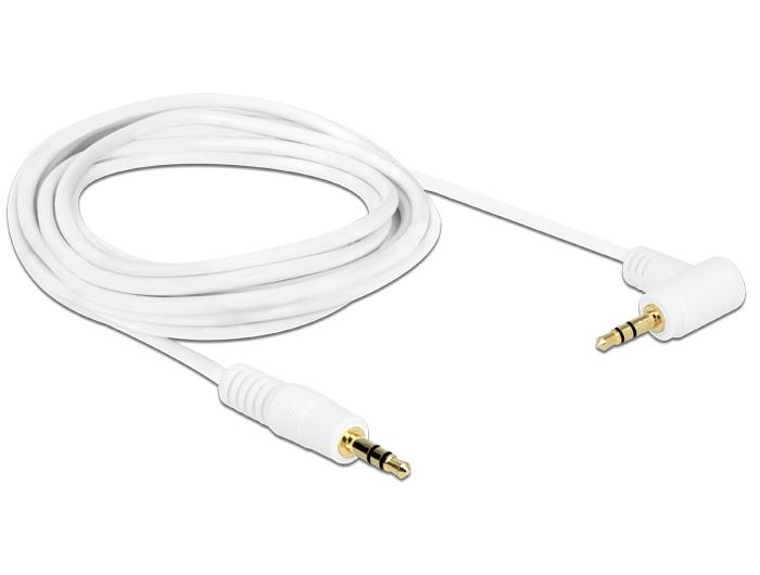Delock Stereo Jack Cable 3 5 Mm 3 Pin Male Male Angled 2 M White