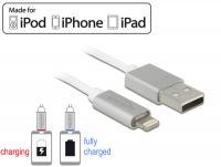 Delock USB data and power cable for iPhone™, iPad™, iPod™ 1 m white with LED indication