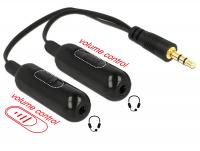 Delock Adapter Cable audio splitter stereo jack male 3.5 mm 3 pin 2 x stereo jack female 3.5 mm 3 pin + Volume control 19 cm