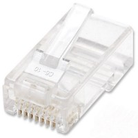 INTELLINET 100-Pack Cat6 RJ45 Modular Plugs, UTP, 2-prong, for stranded wire