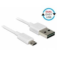 Delock Cable EASY-USB 2.0 Type-A male - EASY-USB 2.0 Type Micro-B male white 1.0m