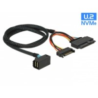 Delock Cable SFF-8643 male angled - U.2 SFF-8639 male + SATA power connector 75 cm