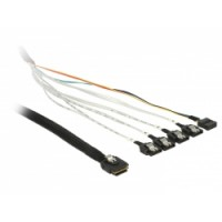 Delock Cable mini SAS SFF-8087 - 4 x SATA 7 pin + Sideband 1 m metal