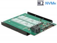 Delock 3.5 Converter SATA 22 pin SFF-8643 NVMe 1 x M.2 NGFF Key M + 1 x M.2 NGFF Key B