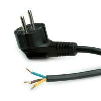 Barošanas kabelis ar Schuko kont./ atvērts gals, AC 230V, melns, 3.0 m