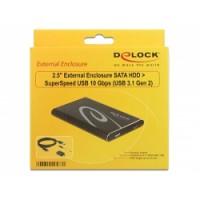 Delock 2.5″ External Enclosure SATA HDD to USB 10 Gbps (USB 3.1 Gen 2)