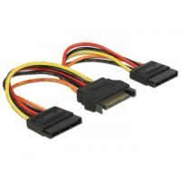 Delock Cable Power SATA 15 pin plug to 2 x Power SATA 15 pin, 15 cm