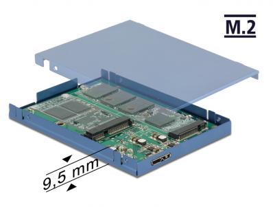 2.5 Konverter USB 3.1 Micro-B Buchse M.2 + mSATA mit Gehäuse 9,5 mm