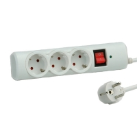 VALUE Power Strip, 3-way, with Switch, Surge Protection, white