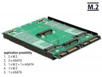 Delock 3.5″ Converter 2 x SATA 22 pin > Dualport 2 x M.2 / 2 x mSATA