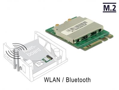 Delock Module M.2 Key A+E male > WLAN 11ac/a/b/g/n + Bluetooth 4.0