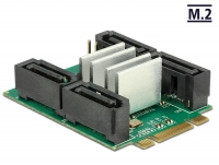 Delock Converter M.2 Key B+M male > Hybrid 4 x SATA 7 pin male with RAID