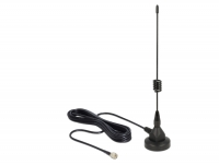 Delock GSM Antenna SMA plug 3 dBi fixed omnidirectional with magnetic base and connection cable (RG-174, 3 m) outdoor black