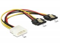 Delock Cable Power Molex 4 pin male > 2 x SATA 15 pin receptacle metal 20 cm