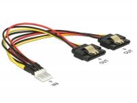 Delock Cable Power Floppy 4 pin male > 2 x SATA 15 pin female metal 20 cm