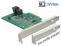 Delock PCI Express Card > 1 x internal NVMe M.2 PCIe / 1 x internal SFF-8643 NVMe – Low Profile Form Factor