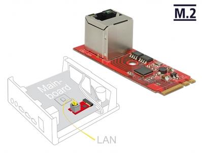 Delock Converter M.2 Key A+E male > 1 x RJ45 Gigabit LAN port vertical