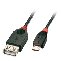 Lindy USB OTG Cable - Black, Type Micro-B to Type A, 1m