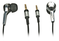 Lindy Earphone Universal, black and chrome, 2.5mm jack & 3.5mm adapter