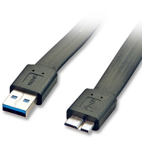 Lindy 3m Flat USB 3.0 Cable - Type A Male to Micro-B Male, Black