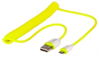 Lindy Coiled USB 2.0 Cable Type A to Micro-B Yellow 1.6m