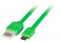 Lindy 0.5m Flat Reversible USB 2.0 Cable, Type A to Micro-B, Green