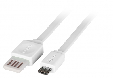 Lindy 0.5m Flat Reversible USB 2.0 Cable, Type A to Micro-B, White