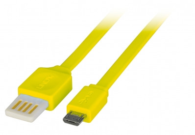 Lindy 0.5m Flat Reversible USB 2.0 Cable, Type A to Micro-B, Yellow