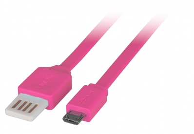 Lindy 2m Flat Reversible USB 2.0 Cable, Type A to Micro-B, Pink
