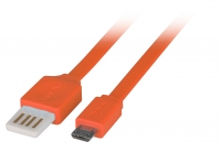 Lindy 2m Flat Reversible USB 2.0 Cable, Type A to Micro-B, Orange