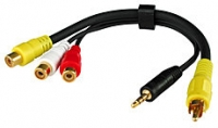 Lindy AV Adapter Cable - 3 x Phono Female to 1 x 3.5mm Stereo Jack Male & 1 x Phono Male, 20cm