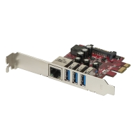 Lindy USB 3.1 / Gigabit LAN Card 4 Port, PCIe